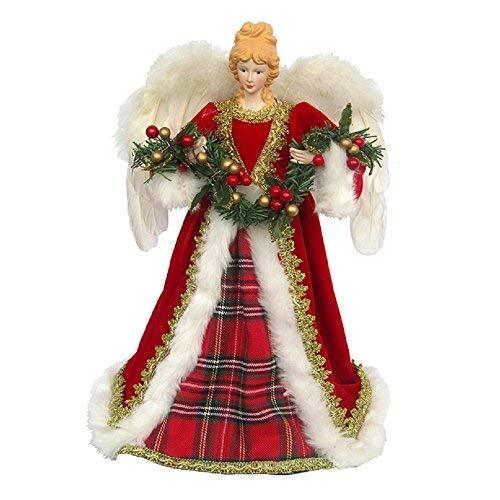 (Santa's Workshop Red Christmas Plaid Angel Tree Topper, 16