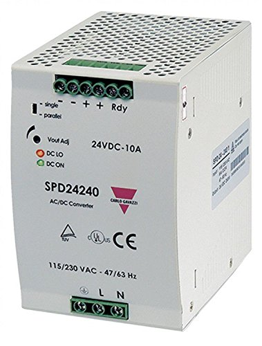 CARLO GAVAZZI SPD242401 DIN Rail Mount Switching Power Supply, 83.5 mm Wide, 90-264 VAC or 210-375 VDC Supply Voltage, Adjustable 24 VDC, 10 amp, 240 W output, 89% Efficiency, PFC and Parallel Output Function, Power Ready Output, IP20 Cover, Diagnostic LE
