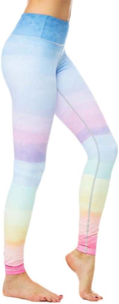 Pantalons de sport,Toamen Pantalon athlétique Lounge Femmes Couture arc en ciel Pantalon de yoga Leggings Sports Gym Aptitude Faire des exercices (M,