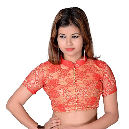 2330a707b3ad7d SINGAAR Women's Readymade Blouse For Women-Net Material-Party Wear-Gold-Red