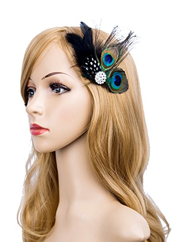 Cizoe 1920s Gatsby Acessories Peacock Costume Hair Clip With Feather Pearl 1920 Flapper Headpiece (Peacock Costumes Accessories)