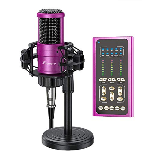 USB Podcast Microphone with Sound Mixer, FOXNOVO Sound Card for Studio Microphone Kit with Stand, 9 Scene Modes and 9 Sound Effects for Podcasting, Recording music, vlogging, Computer, Phone, Wireless