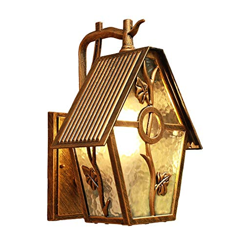 Fighrh European Outdoor Waterproof Wall Light Exterior Wall Lights Brass Finish Aluminum Fixture Antique Wall Lamp Victoria Courtyard Villa Decoration Wall Sconce Glass Lantern E27