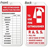"""Fire Extinguisher Inspection Record Tag, 25 Tags / Pack, 2.125"""" x 4.25"""""""
