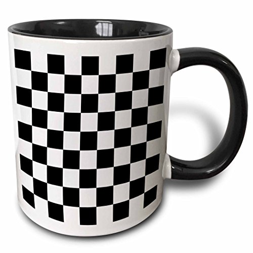 3dRose mug_154527_4 Check Black and White Pattern Checkered Checked Squares Chess Checkerboard or Racing Car Race Flag Two Tone Black Mug, 11 oz, (Checkerboard Flag)
