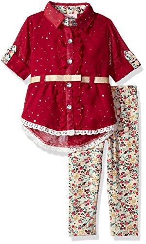 Girls Disco Clothes (Little Lass Baby Girls' 2pc Chiffon Disco Dots Set, Wine,)
