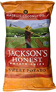 Jackson's Honest Sweet Potato Chips, Cooked in Coconut Oil, Paleo Friendly, 5 Oz, (2 Pack)