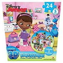 Disney Junior Super 3D Puzzles - 5 Pack - Assortment of Characters and Shows