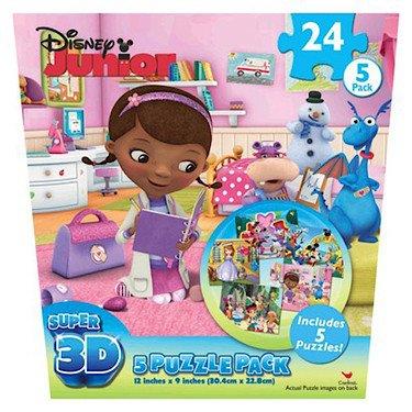 Disney Junior Super 3D Puzzles - 5 Pack - Assortment of Characters and Shows (Best Super Juniors)