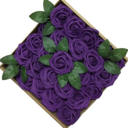 Jing-Rise 50PCS Fake Roses Real Looking Artificial Flowers For DIY Wedding Bouquets Centerpieces Baby Shower Party Home Office Shop Hotel Supermarket Decorations (Purple)