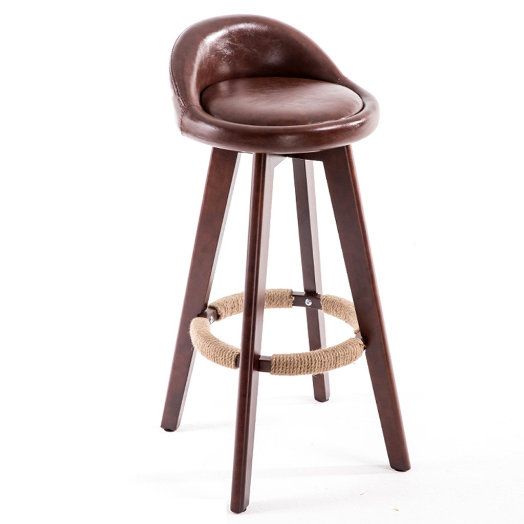 Brown Barstools Chair Bar Stool Solid Wood Bar Chair Minimalist High Stool Front Desk Bar Stool 360° redation Bar Chair Retro Bar Chair Modern (color   Brown)