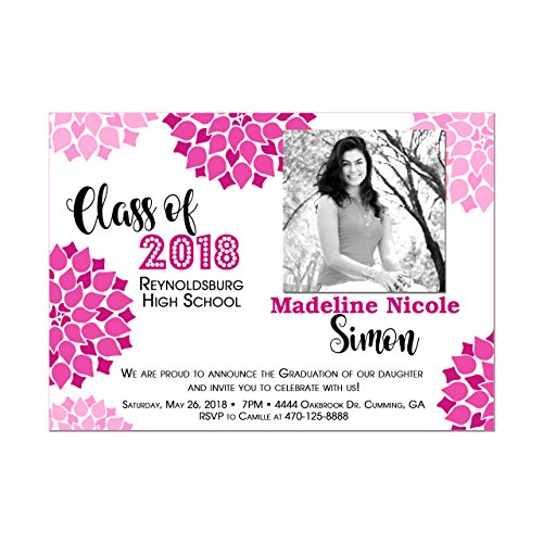 Modern Floral Graduation Invitations with Photo, Customize with your school colors, Set of 10 printed -