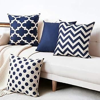 Amazon.com: WLNUI Set of 4 Navy Blue Decorative Throw