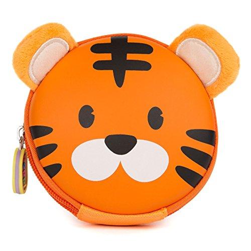 Tiger Clutch (boppi Tiny Trekker Kids Keyring Travel Pouch Coin Purse Mini Travel Wallet Keychain Holder Zipper Clutch Bag - Tiger)