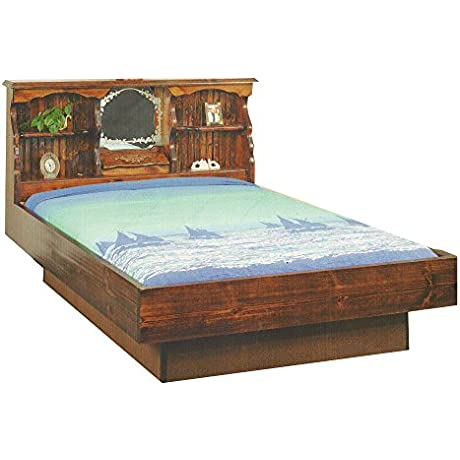 Strobel Organic Fargo Complete Waterbed Premium Solid White Pine Walnut Finish Queen