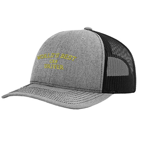 Speedy Pros Worlds Best Cab Driver Embroidery Design Richardson Structured Front/Mesh Cap Heather (Cab Driver Hats)