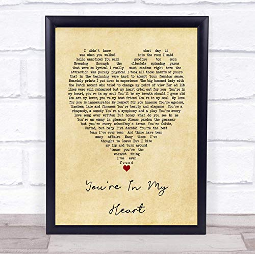 - 123 BiiUYOO Youre in My Heart Rod Stewart Vintage Heart Song Lyric Quote Print 12