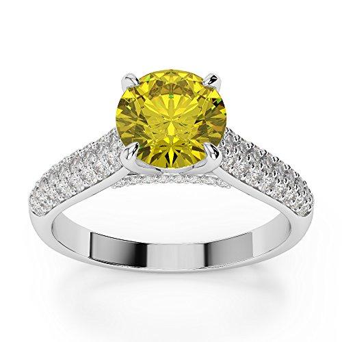 G-H/VS 1CT Coupe ronde sertie de diamants Saphir Jaune et bague de fiançailles en platine 950Agdr-1203