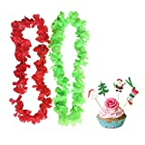 PARTYMASTER Christmas Decorations Pack of 100(50pcs leis+50pcs toothpicks),Red And Green Lei Hawaiian Luau Flower Leis Garland With Cupcake Toppers for Party Event