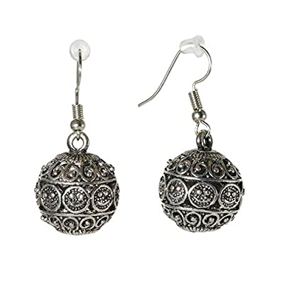 Top Stylish Silvertone Niello Lever back Earrings Metal Round Jewelry for cheap