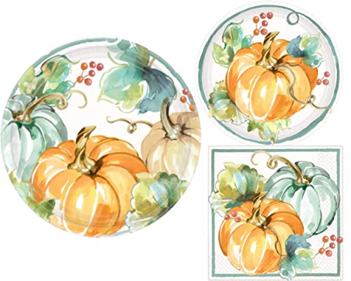 Fall Pumpkin Harvest Party Supply Kit: Autumn Theme Bundle Includes Paper Plates & Napkins for 8 People