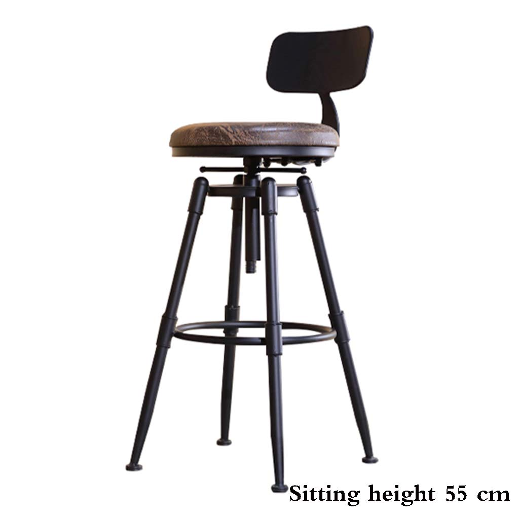PU leather 55cm Bar stool, Solid Wood Wrought Iron high Chair Retro Industrial Wind revolving Stool Lifting backrest Stool Cafe PU Leather Sitting 45-75 cm high antirust