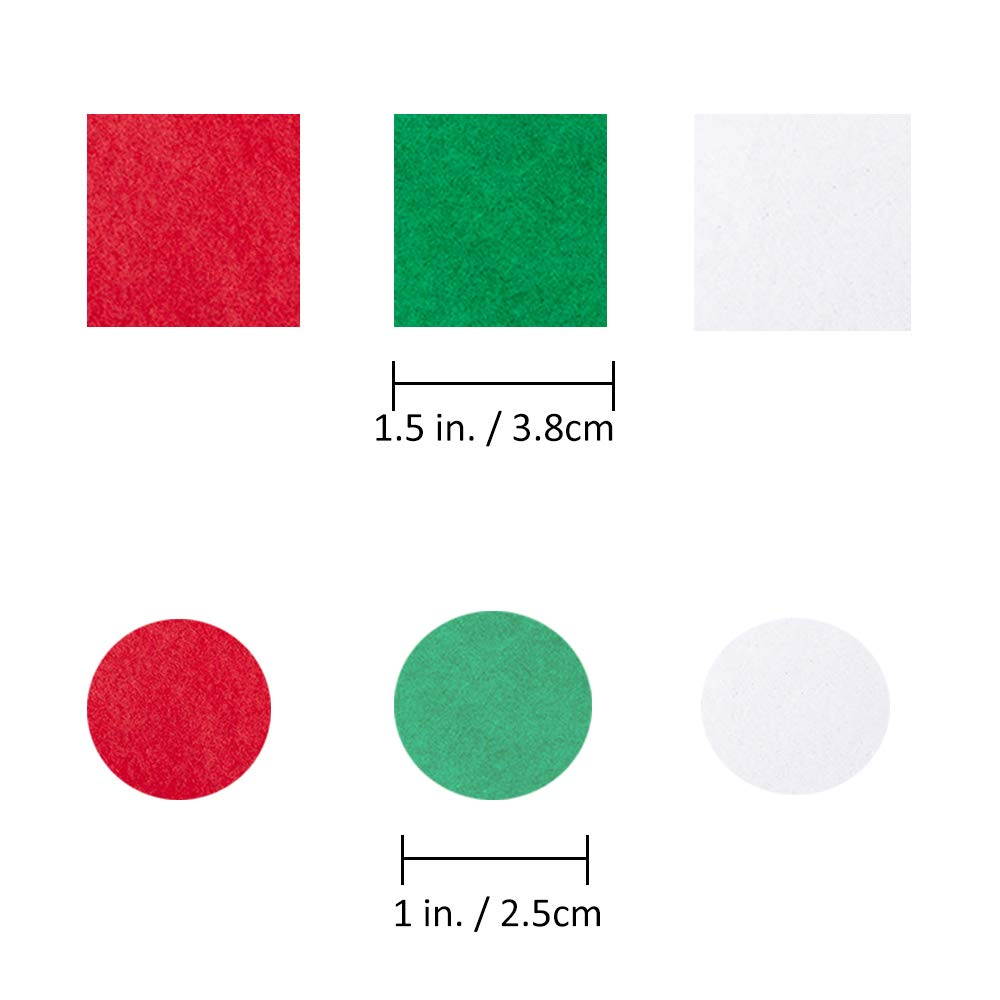 1200 Pcs Mini Christmas Red Green White Tissue Paper Craft Tissue Paper Squares 1.5 Tissue Paper Round Circle 1 for Kids Holiday Christmas Tree Ornaments Wreaths Cone Scrapbooking Gift Embellishmet