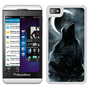 Fashionable Custom Designed Cover Case For Blackberry Z10 With wolf under the moon (3) White Phone Case