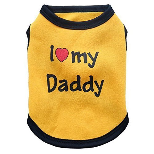 DroolingDog Dog Clothes I LOVE MY DADDY Fleece T-shirt for Small Dogs, XS, Yellow