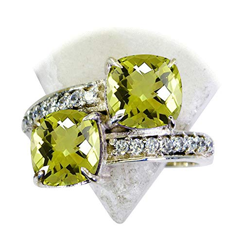 Silver Ring Sterling Quartz Lemon - Gemsonclick Choose Your Gemstones Color Natural Sterling Silver Rings for Women Cushion Shape Size 5,6,7,8,9,10,11,12