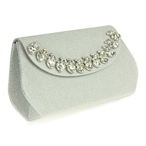 Diamante Clutch Evening Party Prom Silver Hand Detail bag Wedding Crystal Women Bridal Ladies fqFwxEzz