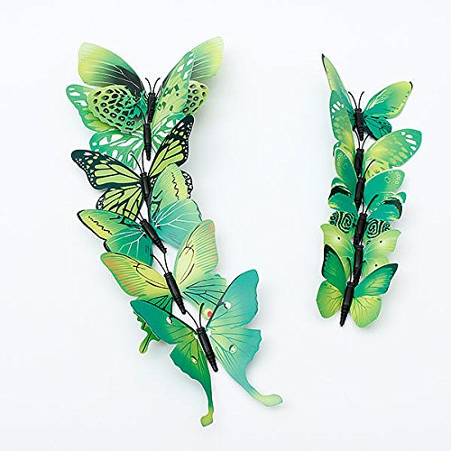 [12PcsX 1Color Art Decal Girls Home Room Wall Stickers 3D Butterfly Decorations Decors