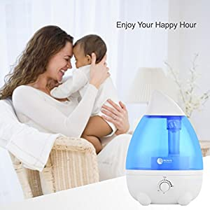 Humidifier For Bedroom Baby Room Car Office Yoga Home Large Capacity 2.6L/0.68Gal Ultra Quiet With Waterless Auto Shut Off Protection Blue