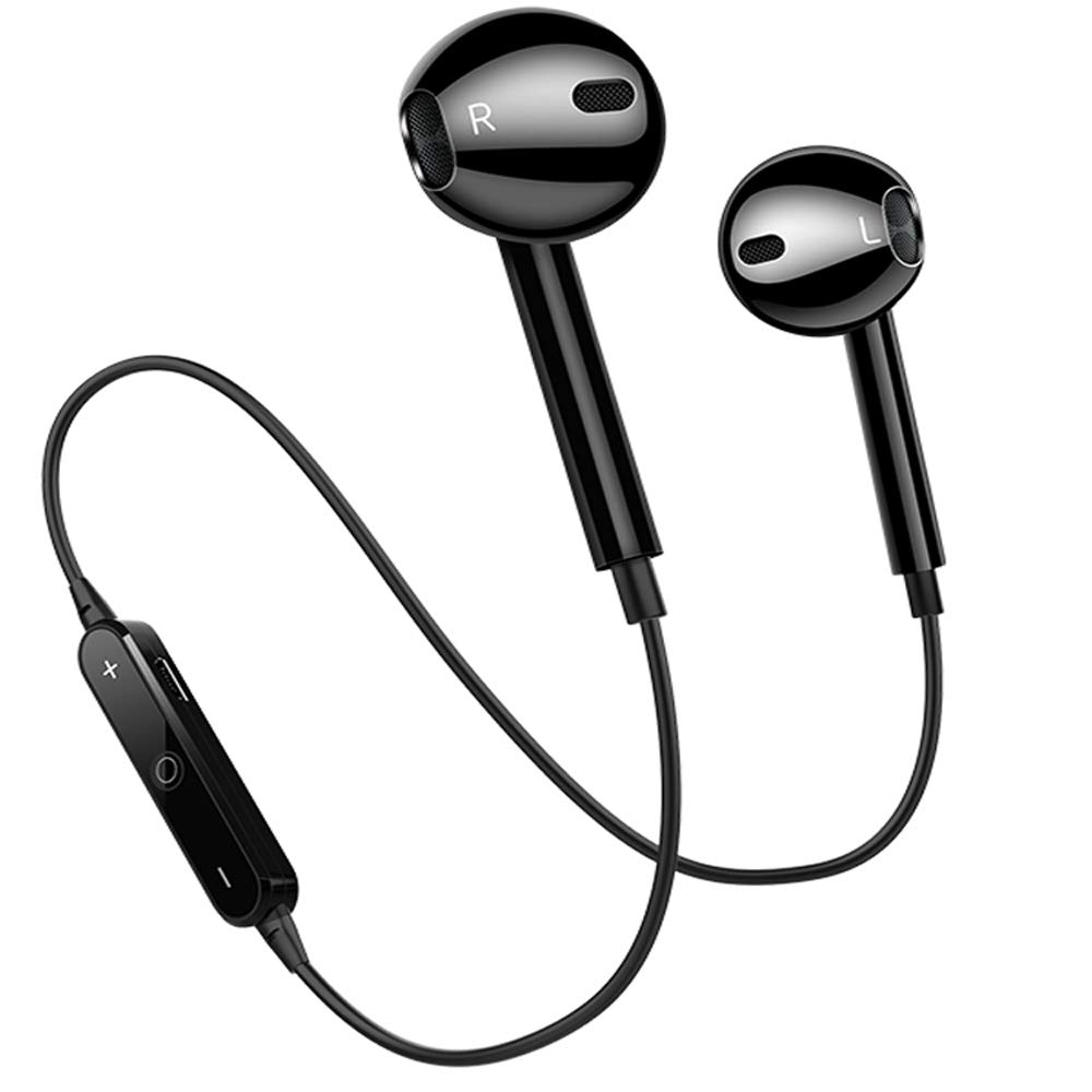 Bluetooth Headphones In Ear Wireless Earbuds 4.2 Sweat proof Stereo Bluetooth Earphones for Sports With Mic,Compatible iPhone X/8/7/ 7 plus/ 6/ 6s plus and Android Phones-S6-Black (Black)