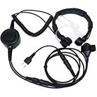 SUNDELY® Military Grade Tactical Throat Mic Headset/Earpiece with BIG Finger PTT for Midland/Alan GXT/LXT 2 Two Way Radio