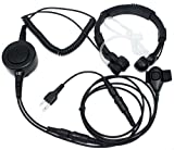 SUNDELY® Military Grade Tactical Throat Mic Headset/Earpiece with BIG Finger PTT for Midland Icom Radio 2-pin