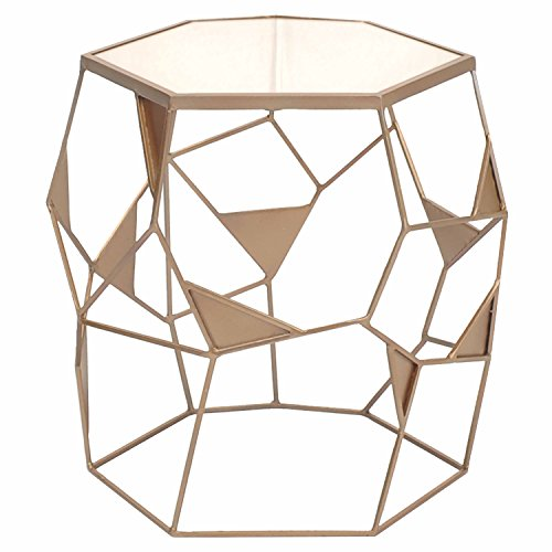 New Pacific Direct 9400001 Gwen Mirrored End Table, Bronze (Dining Room Rattan End Table)
