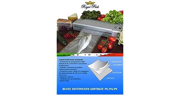 ROYAL PACK fundas y bolsas para envasado al vacío un motivo regular grabado para alimentos 12 x 20 PACK de 50 bolsas: Amazon.es