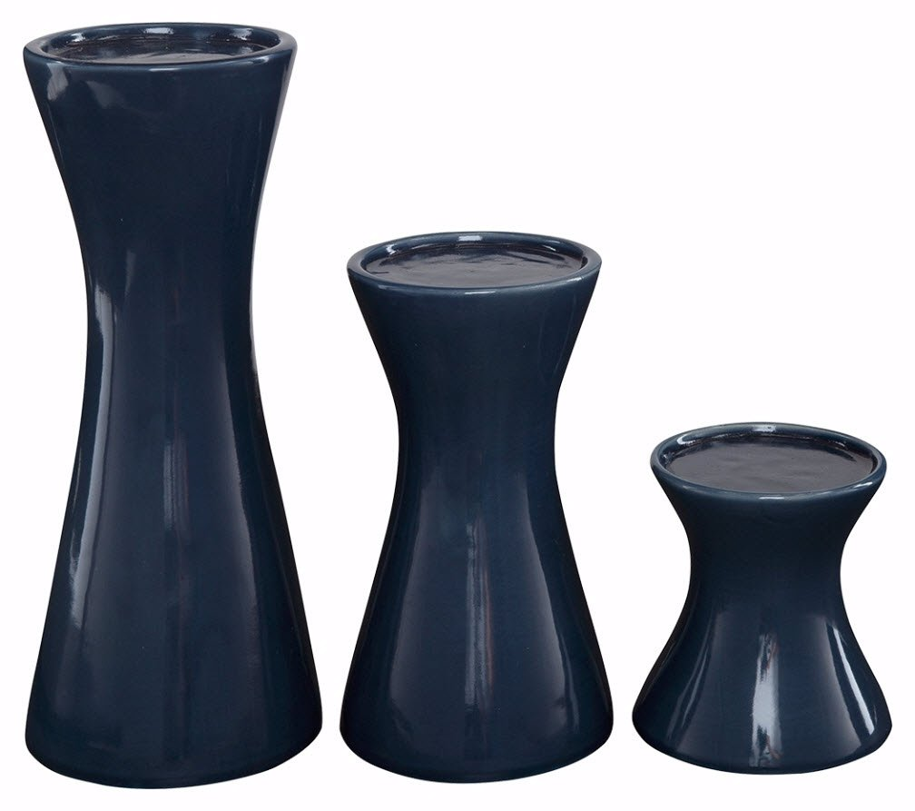 Ashley Furniture Signature Design - Cais Ceramic Candle Holder Set - 3 Pieces - Assorted Sizes - Contemporary - Navy