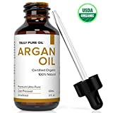 Truly Pure Oil Organic Argan Oil, 100% Natural Argon, Cold Pressed, Unrefined, Eco & USDA Certified For Skin Moisturizer, Face, Hair, Nails, Body, Moroccan Anti Aging, Anti Wrinkle, Beauty Secret 2oz