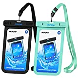 Mpow Universal Waterproof Case, IPX8 Waterproof Phone Pouch Dry Bag for iPhone X/8/8plus/7/7plus/6s/6/6s plus Samsung galaxy s8/s7 Google Pixel HTC10 (Black,Blue 2-Pack)