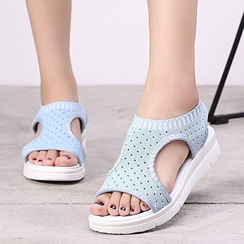 ZHRUI a traspiranti elastico 42 donna EU per rete scarpe cinturino con Dimensione da Sandali Nero Blu Colore r45qwEcr