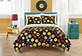 Emoji Bed in a Bag Set Emoji Pals Bling Bed in A Bag Reversible Comforter Set,Black, Queen