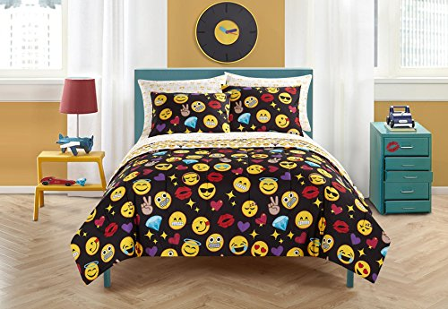 Emoji Pals Bling Bed in A Bag Reversible Comforter Set,Black, Queen