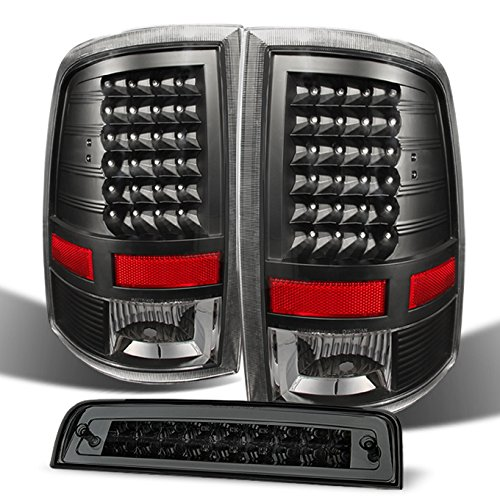 Ram 1500 | 10-18 2500/3500 Truck Black LED Tail Lights + Smoked LED 3Rd Brake Lamps Combo ()
