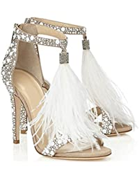 Women's Wedding Dress Party & Evening Stiletto Heel Pearl Tassel White Color