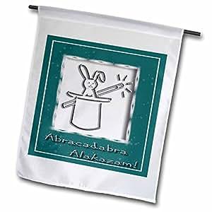Beverly Turner diseño–Abracadabra Alakazam conejo en un sombrero verde–18x 27inch jardín bandera (FL _ 18772_ 2)