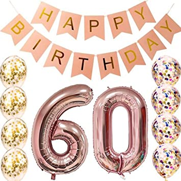 60th Birthday Decorations Party Supplies Balloons Rose Gold60th Banner