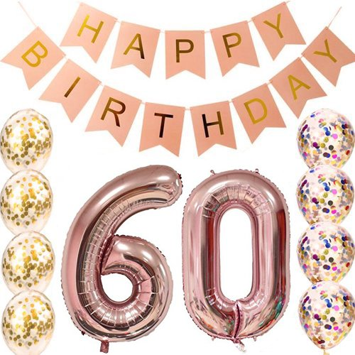 60th Birthday decorations Party supplies-60th Birthday Balloons Rose Gold,60th birthday banner,Table Confetti decorations,60th birthday for women,use them as Props for Photos (Rose Gold 60) -