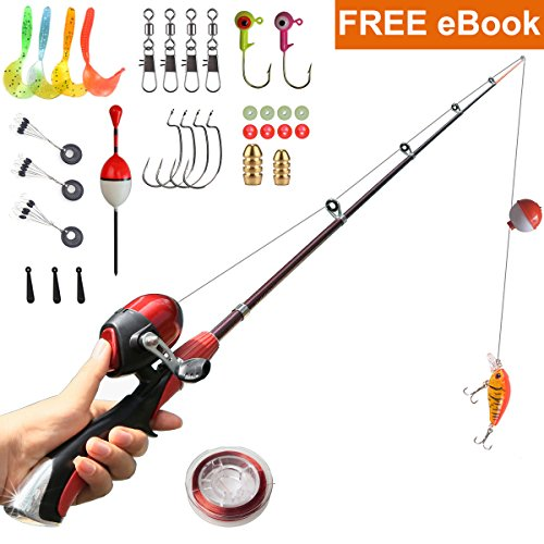 Kids Fishing Pole Beginner's Starter Fishing Kit Children Gifts Fishing Rod Full Set Light and Comfortable (Full kit)